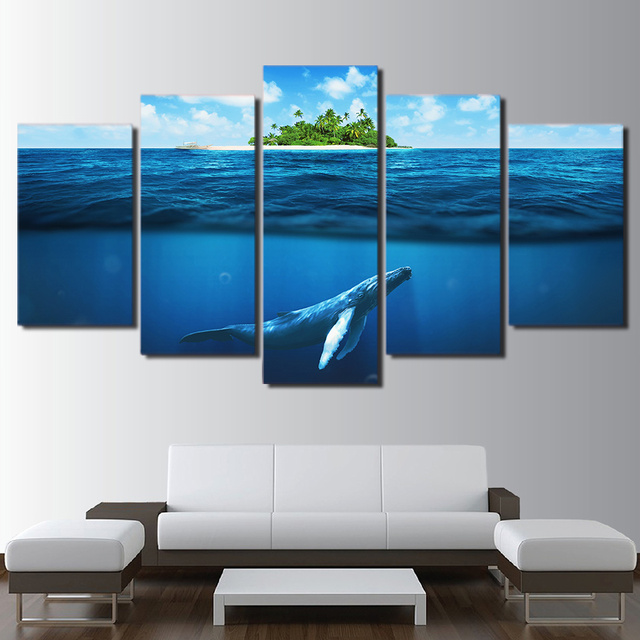 Kanvas Lukisan Ruang Tamu Poster 5 Piece Biru Laut Dalam Kolam Ikan Frame Modular Cetak