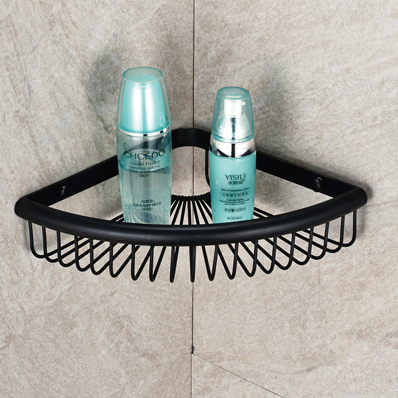 Antique Brass Black Corner Shelf Bolt Inserting Type Basket Single Tier Bathroom  Shelf Bathroom Accessories. Compare Prices on Black Bathroom Shelves  Online Shopping Buy Low
