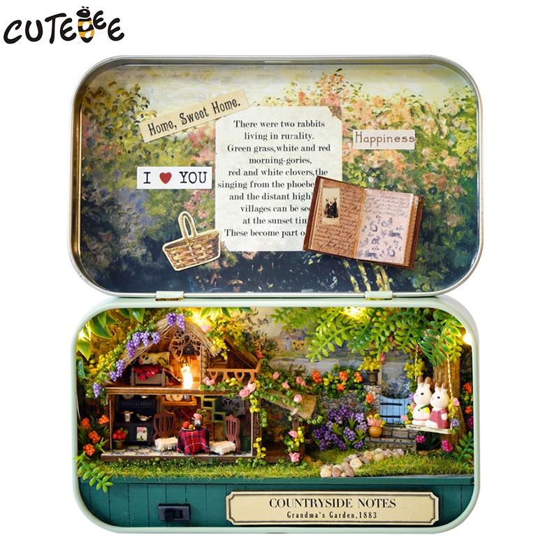 Muebles hechos a mano Casa de muñecas Casa de muñecas en miniatura DIY Casa de muñecas de madera en 3D Miniaturas Juguetes para Navidad y regalo de cumpleaños V4-V6