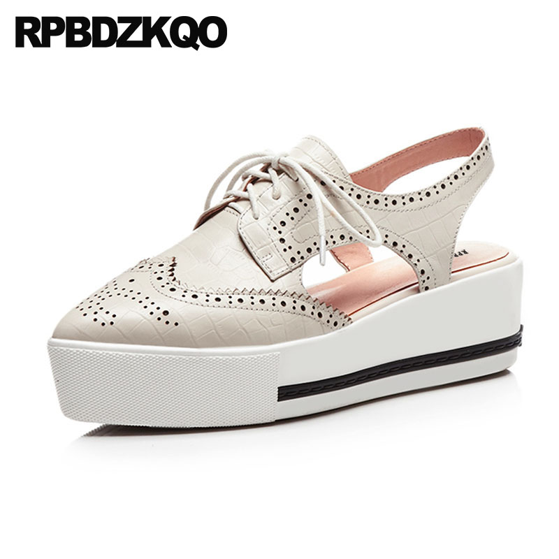 Genuine Leather Pointed Slingback Lace Up Pumps Shoes Brogue Platform Beige Sandals Wedge Oxfords Women Medium Heels Creepers qmn women genuine leather platform flats women laser cut square toe brogue shoes woman oxfords women leather creepers 34 42