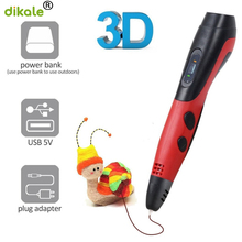 dikale 3D Pen 3d Printing Drawing pen LED Display DIY Printer with 1x7.5m random color PLA filament for Kids Gift