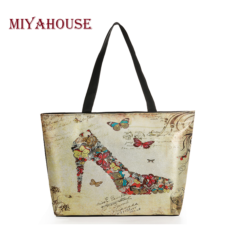 Miyahouse Fashion Shine Butterfly Printed Tote Handbags Women Bling Shopping Bags Lady Leather And Canvas Beach Bag Female fashion summer canvas women beach bags fashion printing lady girls handbags shoulder tote casual bolsa shopping bags 3