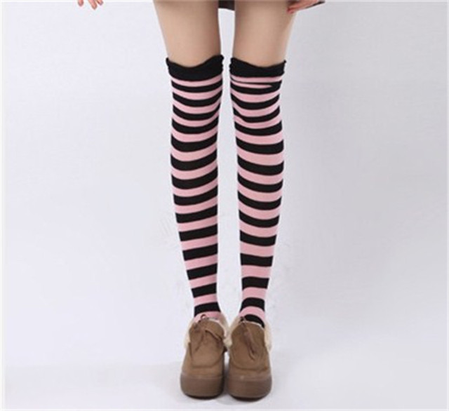 c1a6119e845 Fashion Lady Women Girls Thigh High Over The Knee Stocking Striped Colorful  Cotton Causal Long Stockings Winter Warm New Arrival