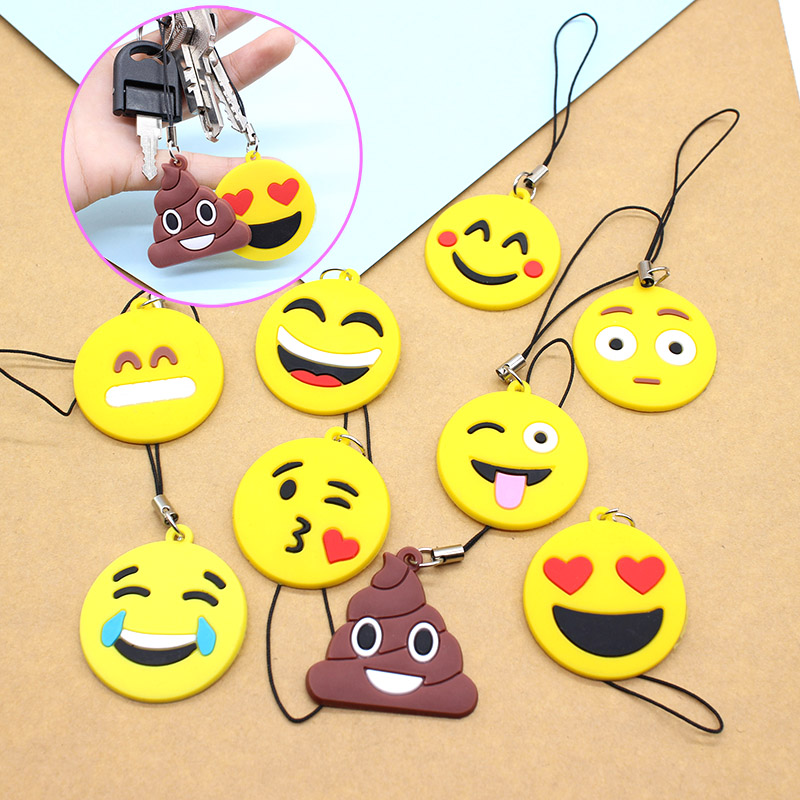 emoji Amusing Keychain cartoon Smile face symbol silicone lovely cute mood Accessory Funny Stool round Pendant cry key chain