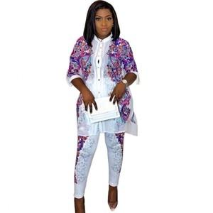 Image 1 - Africa Clothing African Print Elastic Bazin Baggy Pants Rock Style Dashiki SLeeve Famous Suit For Women Coat + Leggings 2pcs/se