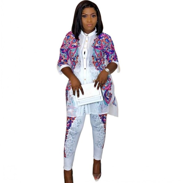 Africa Clothing African Print Elastic Bazin Baggy Pants Rock Style Dashiki SLeeve Famous Suit For Women Coat + Leggings 2pcs/se