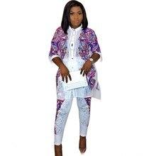 Ropa africana con estampado africano pantalones holgados estilo Rock Dashiki traje famoso para mujer abrigo + Leggings 2 uds/se