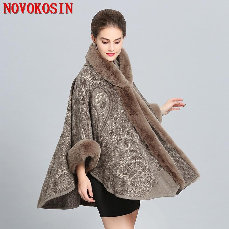 2018 Winter Warm New Plus Size Women's  Hairy Wool Cardigan Imitation Fox Fur Cape Fashion Printed Poncho With Fur Sleeves Hat