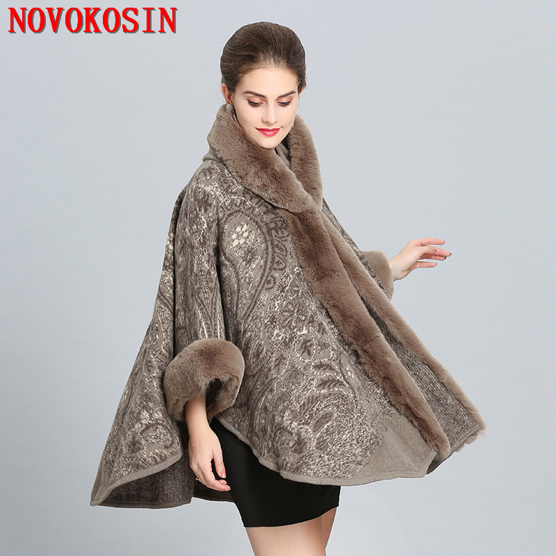 2018 Winter Warm New Plus Size Women's  Hairy Wool Cardigan Imitation Fox Fur Cape Fashion Printed Poncho With Fur Sleeves Hat