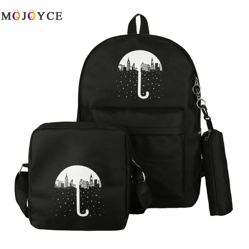 3 PCS/SET Women Backpack Umbrella Printing Canvas School Bags For Teenager Girls Preppy Style Composite Bookbag Mochila Feminina hynes eagle 3 pcs set 3d letter bookbag boys backpacks school bags children shoulder bag mochila girls exo printing backpack