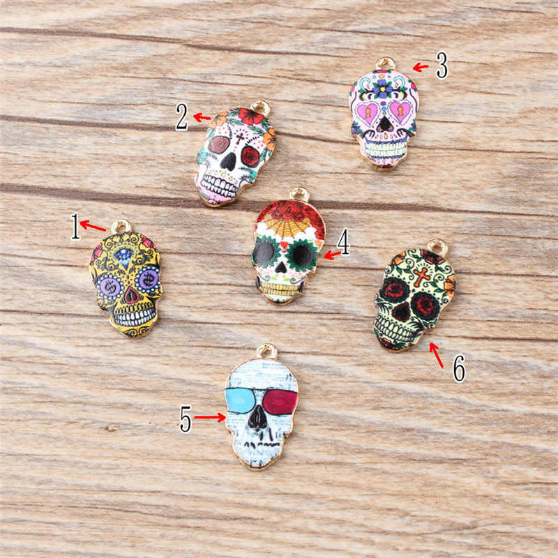 10PCS/Lot High Quality Fashion Enamels Charms Gift Colorful Skull Alloy Pendant Bracelet Necklace Jewelry Accessories DIY Craft