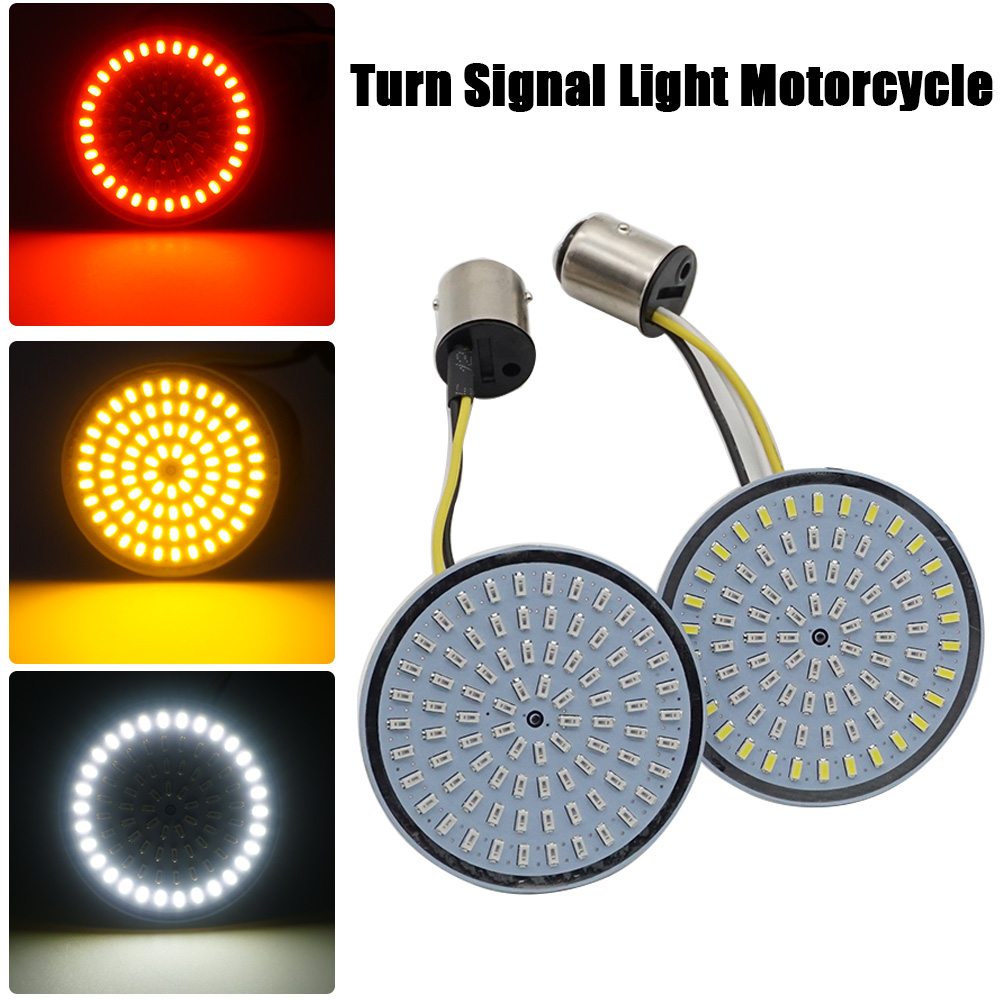 Motorcycle Bullet Turn Signal Indicator Light Lamp 1156 1157 White/Amber LED Inserts Light For Moto Harley Sportster Dyna FLSTF