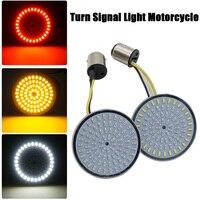 Tipo bala de motocicleta luz indicadora de señal de giro de la lámpara 1156 blanco 1157/ámbar inserciones de LED luz para Moto Harley Sportster Dyna FLSTF