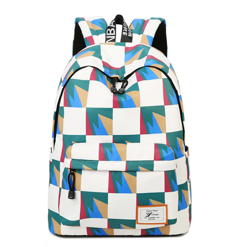 Polyester Woman Backpack Geometric pattern Schoolbag for Female College Students Back Pack Large Capacity Girls laptop Knapsack