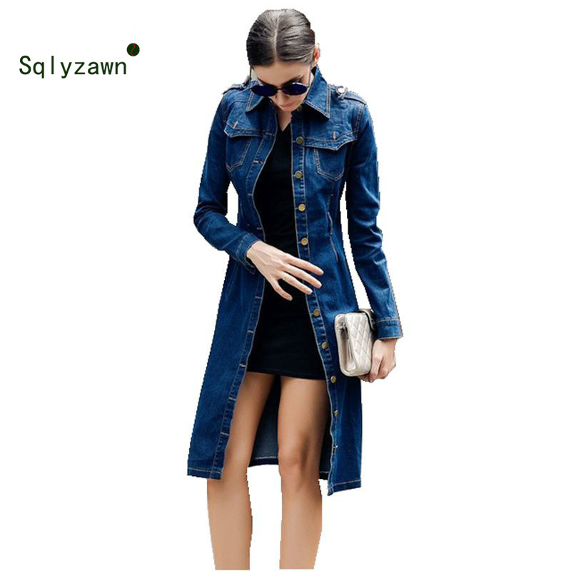 2019 Women Autumn Cotton Slim Denim   Trench   Coat Long Sleeve Vintage Casual Jeans Windbreaker Pencil Dress with Belt Overcoat 4XL