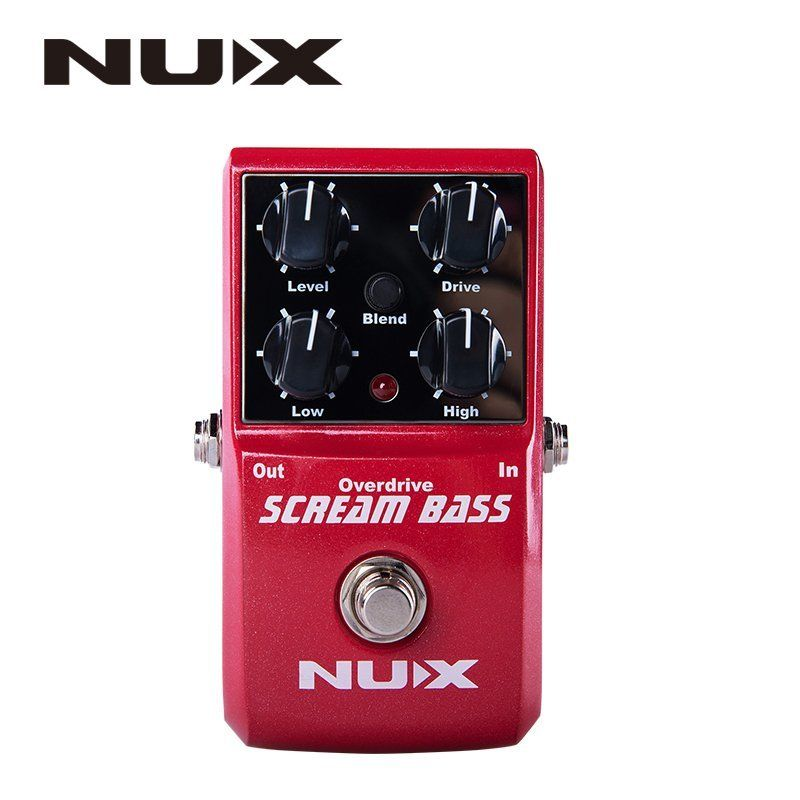 NUX Scream Bass Overdrive Guitar Effect Pedal Gain Level High Low Controls Analogue Circuit Gain Mix True Bypass 2-Band Equalize electric guitar pedal bass true bypass effect white custom biyang controls level top treble guitarra pedales new