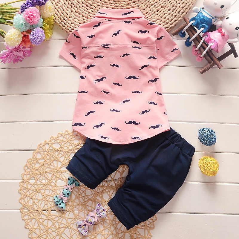 BibiCola letnie ubrania dla dzieci zestaw dla chłopców dres ubrania dla dzieci T-shirt + krótkie 2 szt zestaw kreskówka wąsy dla dzieci Sport garnitur