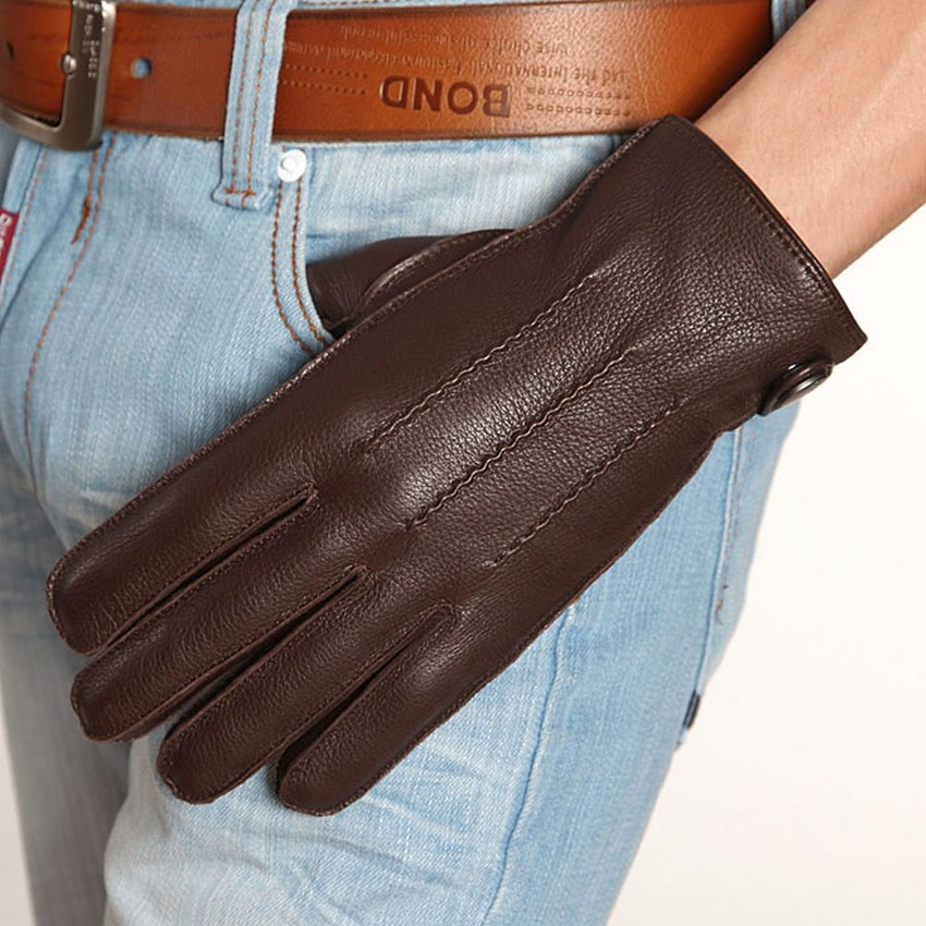 Genuine Leather Men Gloves Fashion Casual Business Deerskin Glove Five Finger Winter Leather Gloves Thermal Knitted