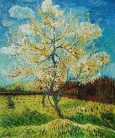 100% Handpainted Oil Painting on Canvas Pink Peach Tree Vincent Van Gogh Painting Wall Decor Art Vertical Unframed