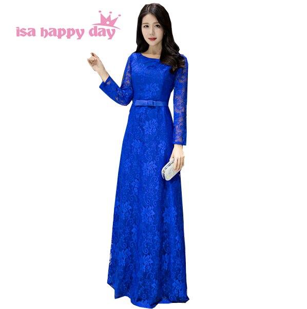 Longue robe ajustée bleu royal robe le modeste bal nouveaux arrivants 2019 femmes robes de moins de 100 avec manches complètes pour les invités H3827