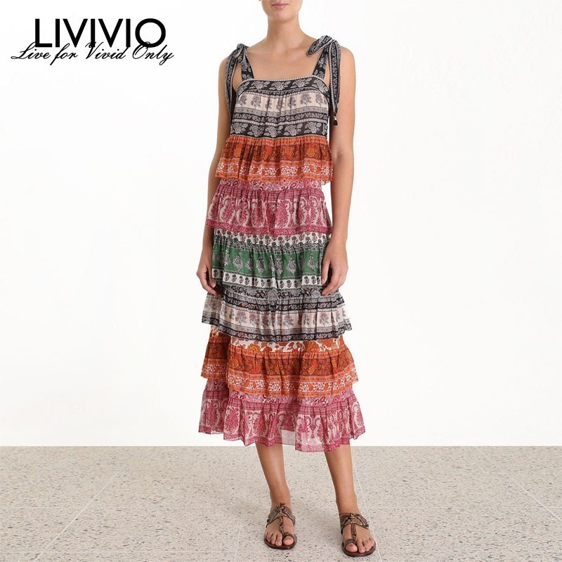 LIVIVIO Spaghetti Strap Boho Ruffle Print Sleeveless Long Dress Women 2019 Summer Elegant Holiday Dress