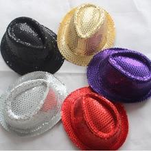 9 цветов, расшитые блестками танцевальные шляпы для мальчиков, блестящие шляпы для сцены, унисекс блестящая шляпа с пайетками, танцевальное шоу, вечерние шляпа для джаза, шоу, шляпа
