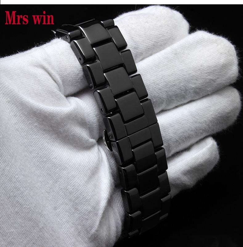Prix pour Mme gagner En Céramique blanc bracelets 22mm Bracelet Curved End Solide Liens montre accessoires pour AR1400 montre BRACELETS pour la vente en gros