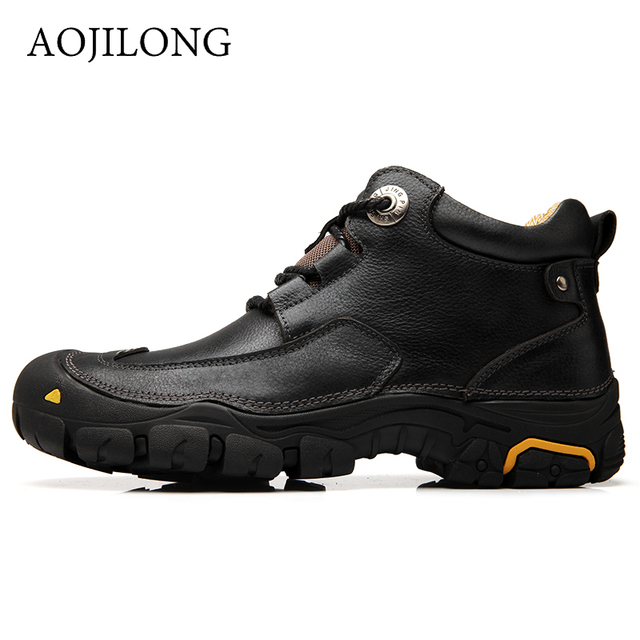 Outdoor Brand Hiking Shoes Men Ankle Boots 2018 Autumn Winter Work Boot Genuine Leather Male Sport Walking Footwear Big Size 46