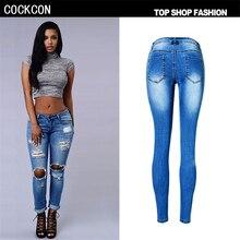 COCKCON высокой талией джинсы женщина разорвал Брюки Карандаш Отверстие джинсы женщин джинсовые брюки узкие джинсы женщина pantalon femme TPS6626