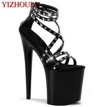 20 cm high heel, waterproof big yards Roman hollow out sandals, unique runway rivets Dance Shoes