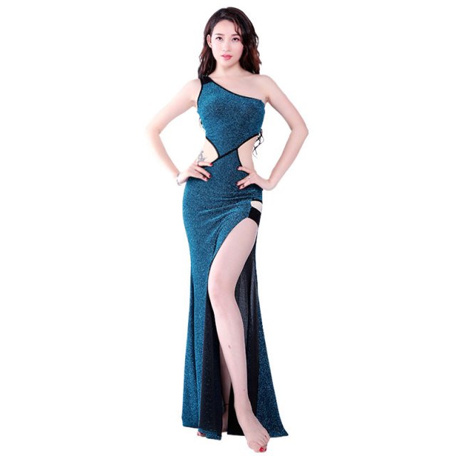 2a0493c10 One Shoulder Cutout Placketing Sexy Belly dance One-piece dress for  women female Lady
