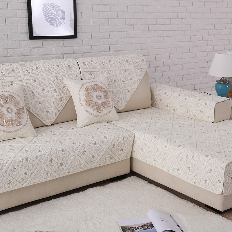Quilted Sectional Corner Cotton Sofa Cover Set Double sided Embroidery Furniture Covers For Couches housse canape