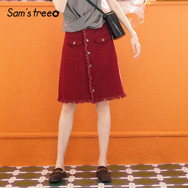 Samstree Women Mini Pencil Skirts Summer 2019 Vintage Solid Wine Ripped Denim Skirt With Pockets Above Knee High Waist Bottoms