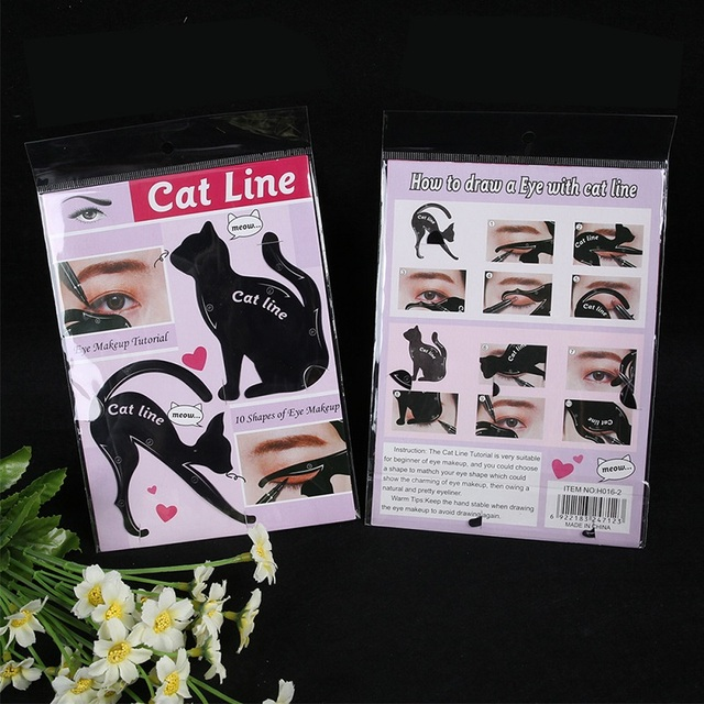 2Pcs Cat Line Stencils Pro Eye Makeup Tool Eyeliner Stencils Template Shaper Model Eyebrows Eyeshadow 4