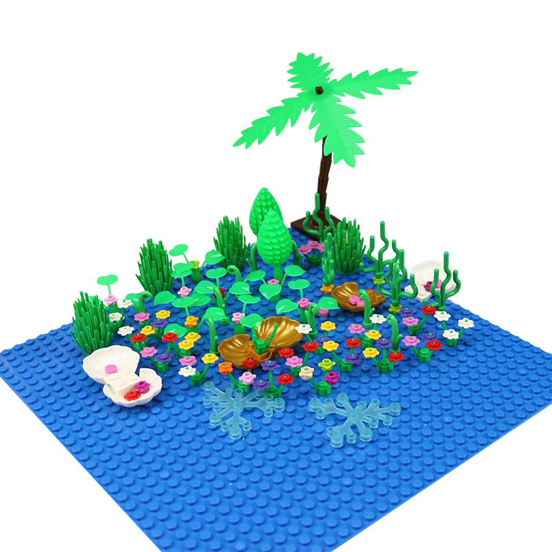 Seaside Block MOC Mini City Bush Trees Grass Plants Flowers Light DIY Building Blocks Bricks Action Figure Toys Legoed Particles