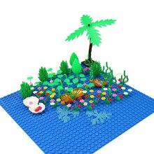 Seaside Block MOC Mini City Bush Trees Grass Plants Flowers Light DIY Building Blocks Bricks Action