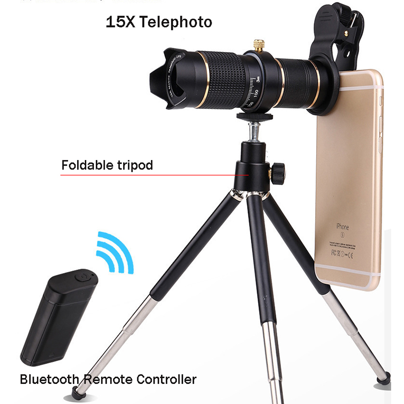 Bluetooth Remote Control Phone Telephoto Lens Universal Optical Zoom 15X Monocular Magnifier With Tripod