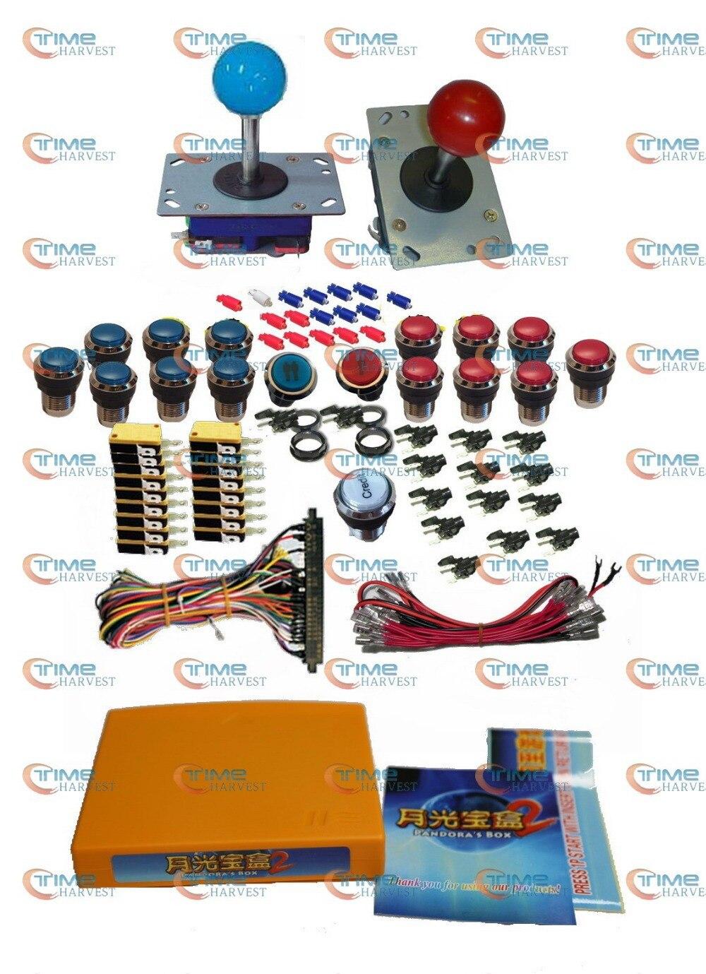 Kit de faisceaux de pièces d'arcade avec 1300 en 1 multi-plateau de jeu Joystick à Long arbre bouton lumineux en argent Microswitch Jamma harnais