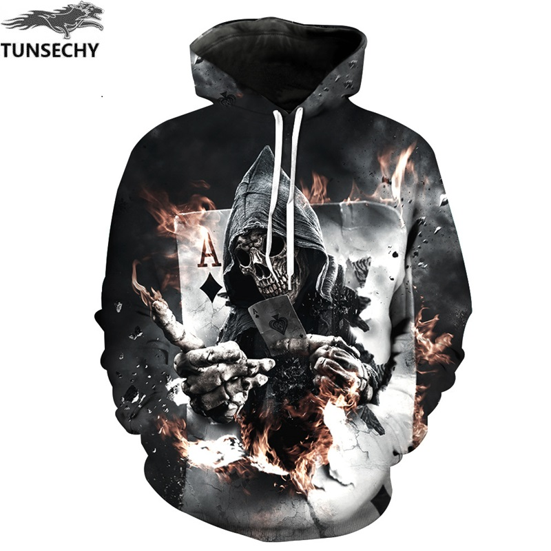 TUNSECHY Skull Poker Hoodies Sweatshirts Men Women 3D Pullover Funny Tracksuits Male Fashion Casual Hoodies & Sweatshirts