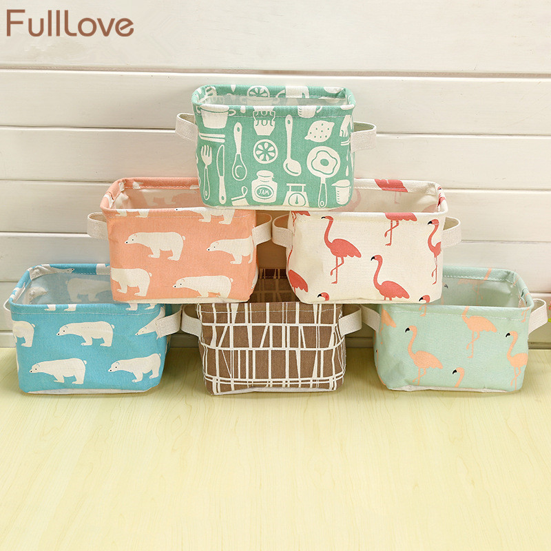 FullLove Desktop Storage Boxes Cotton Orgnazaier Toy Boxes Cartoon Flodable Cosmetic Box Fabric Holder for Bedroom Bathroom