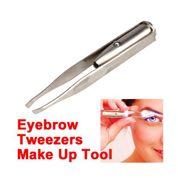 Eyes Beauty LED Eyebrow Tweezer+3 Batteries Eyelash Eyebrow Hair Remover Stainless Steel Eyebrow Tweezers Tools H7JP