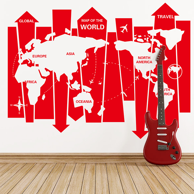 removable world wall map sticker handmade arrow map wall art decals for company office stickers muraux arrow office furniture