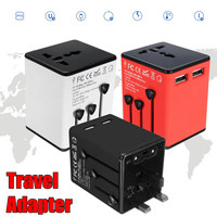 YD 931L B6 Black White Red 150 Countries Global Universal World Plug Travel Adapter 2 5A