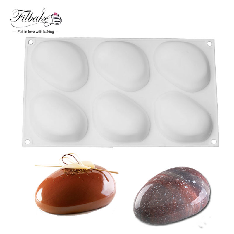 FILBAKE 6 Cavity Stone Shape Silicone Cake Mold Baking Moulds Pastry Decorating Molds Tools for Soap, Muffin, Brownie, Mousse