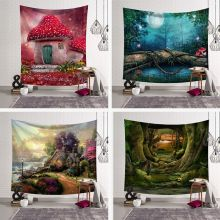 Nordic Bedroom Decorating Wall Tapestry Hanging Cloth Background Beautiful Forest Fabric Wall Hanging Tapestry Decor Polyester forest stream sunlight waterproof wall hanging tapestry