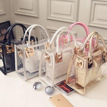 Mrs win Top-Handle Women Bags 2017 Fashion Women Messenger Bags Handbag PVC Waterproof Composite Bag bolsa feminina DJB89 алиэкспресс сумка прозрачная