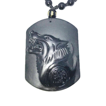 Natural Black Obsidian Carving Wolf Head Obdidian Amulet pendant free necklace obsidian Blessing Lucky pendant Men Jewelry