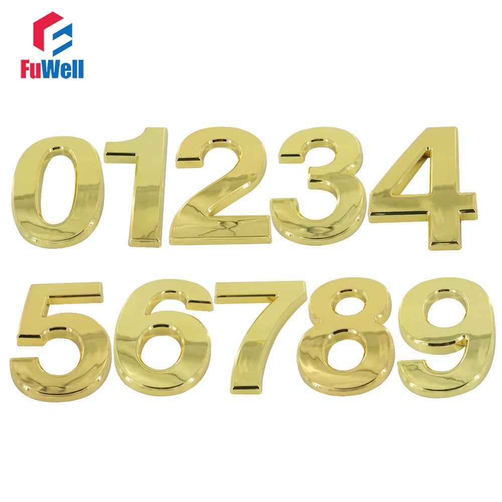 Home Hotel Door Number 100mm Height 0/1/2/3/4/5/6/7/8/9# Optional ABS Plastic Golden Color Digital House NumberHome Hotel Door Number 100mm Height 0/1/2/3/4/5/6/7/8/9# Optional ABS Plastic Golden Color Digital House Number