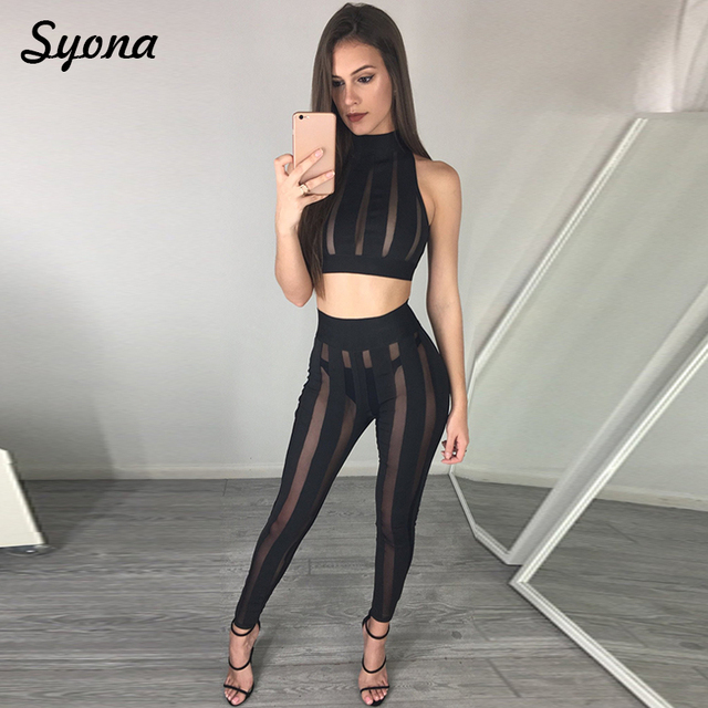 3abd138344e5 2 TWO PIECE SET Sexy Matching Outfits For women Clothing Crop Top Mesh  Transparent See Through