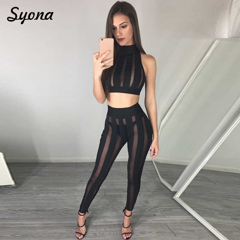 66ba3d3ae Detail Feedback Questions about 2 TWO PIECE SET Sexy Matching Outfits For women  Clothing Crop Top Mesh Transparent See Through Sheer Suit Nightclub Plus ...